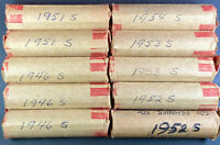 10 S MINT ROLLS LINCOLN WHEAT CIRC PENNIES 1946S 1950S 1951S 1952S 1953S 1954S