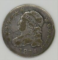 1814 BUSTED DIME, LARGE DATE