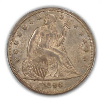 1846 $1 LIBERTY SEATED DOLLAR PCGS MINT STATE 64 CAC