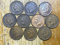 LOT OF  10  HIGHER GRADE INDIAN HEAD CENTS