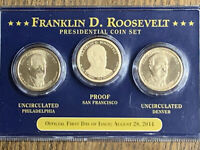 2014 FIRST DAY OF ISSUE FRANKLIN ROOSEVELT PRESIDENTIAL $1 COIN SET P, D,S PROOF
