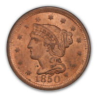 1850 1C BRAIDED HAIR CENT PCGS MINT STATE 64RD