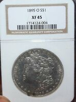 1895-O $1 MORGAN SILVER DOLLAR, NGC EXTRA FINE -45 - GREAT QUALITY NEW ORLEANS MINT