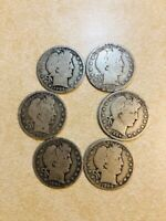 BARBER HALF DOLLARS LOT OF 6 DIFFERENT DATES EARLY 1900S 90