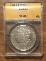 1902 S MORGAN SILVER DOLLAR ANACS VF35 BETTER DATE  GOOD EYE APPEAL
