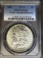 1888 P PCGS MINT STATE 63 VAM 7 DOUBLED REVERSE HOT 50 MORGAN SILVER DOLLAR COIN