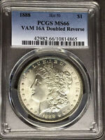 1888 P PCGS MINT STATE 66 VAM16A DOUBLED REVERSE HOT 50 TOP POP MORGAN SILVER DOLLAR COIN