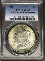 1888 P PCGS MINT STATE 62 VAM 4 DOUBLE REVERSE HOT 50 MORGAN SILVER DOLLAR COIN