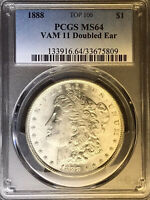 1888 P PCGS MINT STATE 64 VAM 11 DOUBLED EAR, TOP 100 MORGAN SILVER DOLLAR COIN