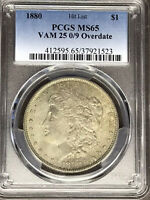 1880 P PCGS MINT STATE 65 VAM 25 0/9 OVERDATE HIT LIST 40 MORGAN SILVER DOLLAR COIN