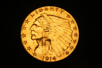 1914 D  $2 1/2 DOLLAR GOLD COIN  SOME MINT LUSTER.  NICE COI