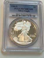1986-S $1 PROOF SILVER EAGLE PCGS PR70DCAM, FIRST YEAR OF ISSUE, SPOTLESS