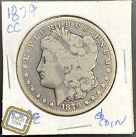 1879-CC S$1 MORGAN SILVER DOLLAR F FINE EARLY CARSON CITY US TYPE COIN KEY DATE