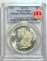 1921 VAM-3B2 HOT 50 PITTED REVERSE PCGS MINT STATE 64 MORGAN DOLLAR [INV 1487]