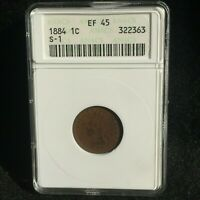 1884 INDIAN CENT CHERRY PICKERS MPD S-1, ANACS EXTRA FINE -45, S-6 STAR ON SHIELD