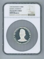 INDONESIA 1970, SUDIRMAN 1000 RUPIAH, NGC PF 65 SILVER PROOF ULTRA CAMEO UNC