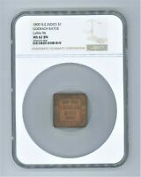 NETHERLANDS EAST INDIES: PLANTATION TOKEN, BRASS 1 DOLLAR, 1890 NGC MINT STATE 62  UNC