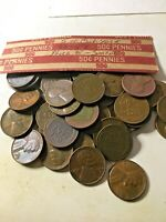 LINCOLN WHEAT CENT PENNY ROLL, 1950'S 5 EACH YEAR 50 TO 58  5- S MINTS