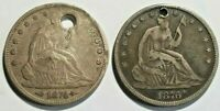 SEATED LIBERTY 2 COIN SILVER HALF DOLLAR LOT HOLED 1874P ARR