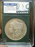 1890 O MORGAN VAM 10 COMET OBVERSE AND STRUCK THROUGH ERROR