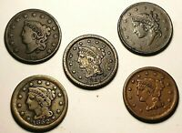 LOT OF 5 DIFFERENT 1831 1855 MATRON HEAD & BRAIDED HAIR LARG