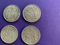 1960 1961 1962 1964 CANADA 50 CENT COINS