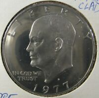 1977-S CLAD CHOICE PROOF IKE EISENHOWER DOLLAR CAMEO DEVICES MIRROR FIELDS