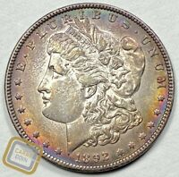 1892-P MORGAN SILVER DOLLAR COIN AU ABOUT UNCIRCULATED TONED PHILADELPHIA MINT