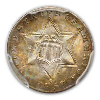 1857 3CS THREE CENT SILVER PCGS MINT STATE 66 CAC