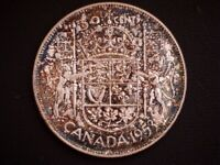 1953 CANADA 'SHOULDER FOLD   LARGE DATE' 'TONED' SILVER 50 C