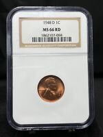 1948-D 1C LINCOLN WHEAT CENT NGC MINT STATE 66 RD RED 3392