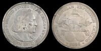 1893 COLUMBIAN EXPOSITION HALF DOLLAR, COMMEMORATIVE SILVER, CLEANED