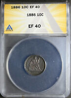 1886 SEATED LIBERTY DIME ANACS EF40, TONED