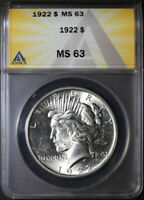 1922 PEACE SILVER DOLLAR ANACS MINT STATE 63, BRILLIANT