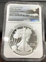 2015 W SILVER EAGLE 1 OZ NGC PF69 ULTRA CAMEO EARLY RELEASES EAGLE LABEL