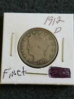 1912 D LIBERTY HEAD V NICKEL COIN FINE BETTER DATE