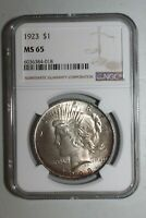 1923 PEACE DOLLARS NGC MINT STATE 65 TONED  FROM ORIGINAL ROLL