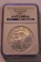 2007 W AMERICAN SILVER EAGLE EARLY RELEASE  NGC MINT STATE 69