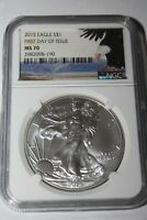 2015 AMERICAN SILVER EAGLE FIRST DAY OF ISSUE $1 NGC MS70