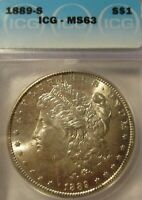 1889-S MORGAN SILVER DOLLAR ICG MINT STATE 63