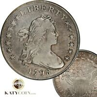 1798 PCGS VF DETAILS SILVER LARGE EAGLE DRAPPED BUST LIBERTY $1 DOLLAR US 25823B