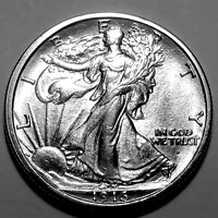 1916 D WALKING LIBERTY SILVER HALF DOLLAR   GEM BU   GREAT L