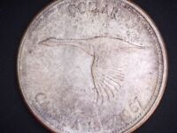 1967 CANADA 'FLYING GOOSE' 'TONED' SILVER DOLLAR COIN   034