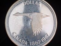 1967 CANADA 'FLYING GOOSE' 'TONED' SILVER DOLLAR COIN   727