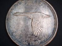 1967 CANADA 'FLYING GOOSE' 'TONED' SILVER DOLLAR COIN   058