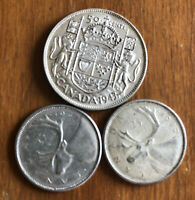 LOT OF CANADA CIRCULATED SILVER COINS VARIOUS DATES $1 FACE