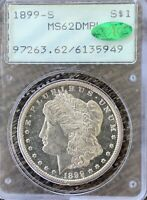 1899 S MORGAN DOLLAR GRADED MINT STATE 62 DEEP MIRROR PROOF LIKE BY PCGSRATTLER/CAC