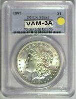 1897 VAM-3A PITTED N PCGS MINT STATE 64 MORGAN DOLLAR [INV 206]