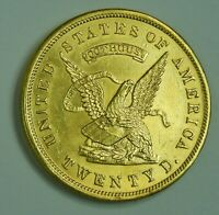 1853 US ASSAY GOLD $20 DOUBLE EAGLE CALIFORNIA GOLD RUSH GOL