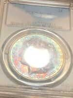 1882-S MORGAN DOLLAR PCGS MINT STATE 64 VIBRANT RAINBOW TONED MONSTER EYE APPEAL
